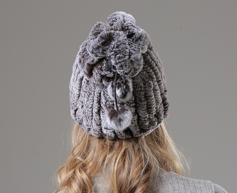 Womens Winter Hats Scarf Knitted Real Rabbit Fur Hat Natural fur Neck Scarf Girls Winter Warm Hat Beanies (4)