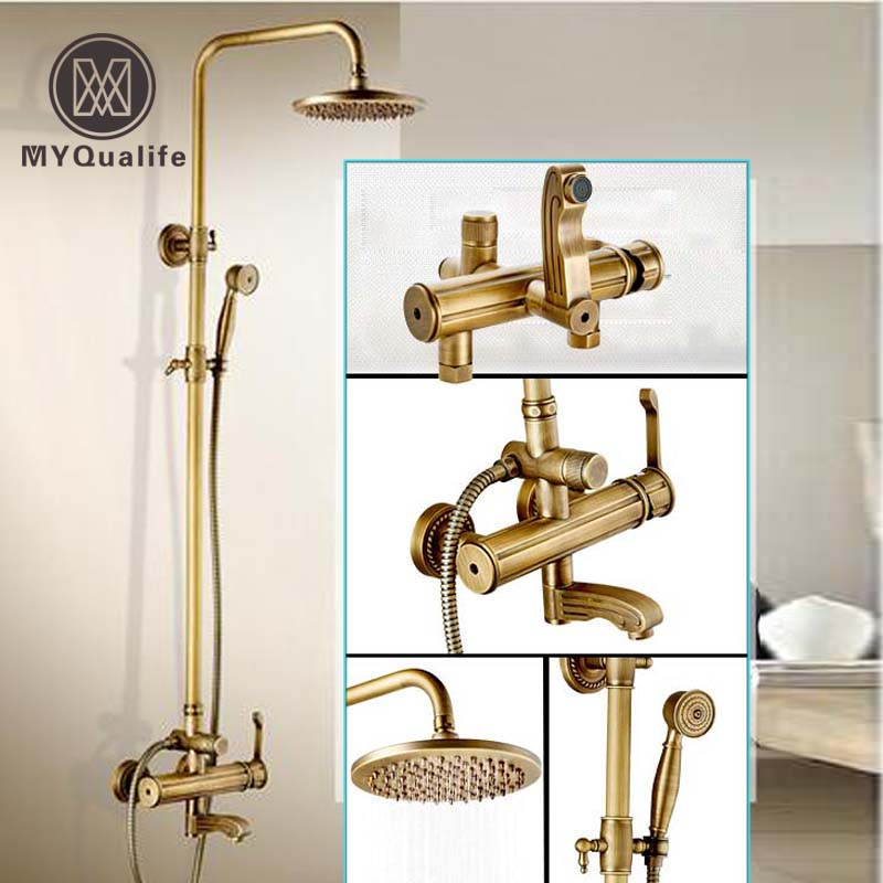 Antique Brass Rotate Tub Faucet Shower Mixer Faucet 8 Rainfall 3-functions Shower Panel with Handshower