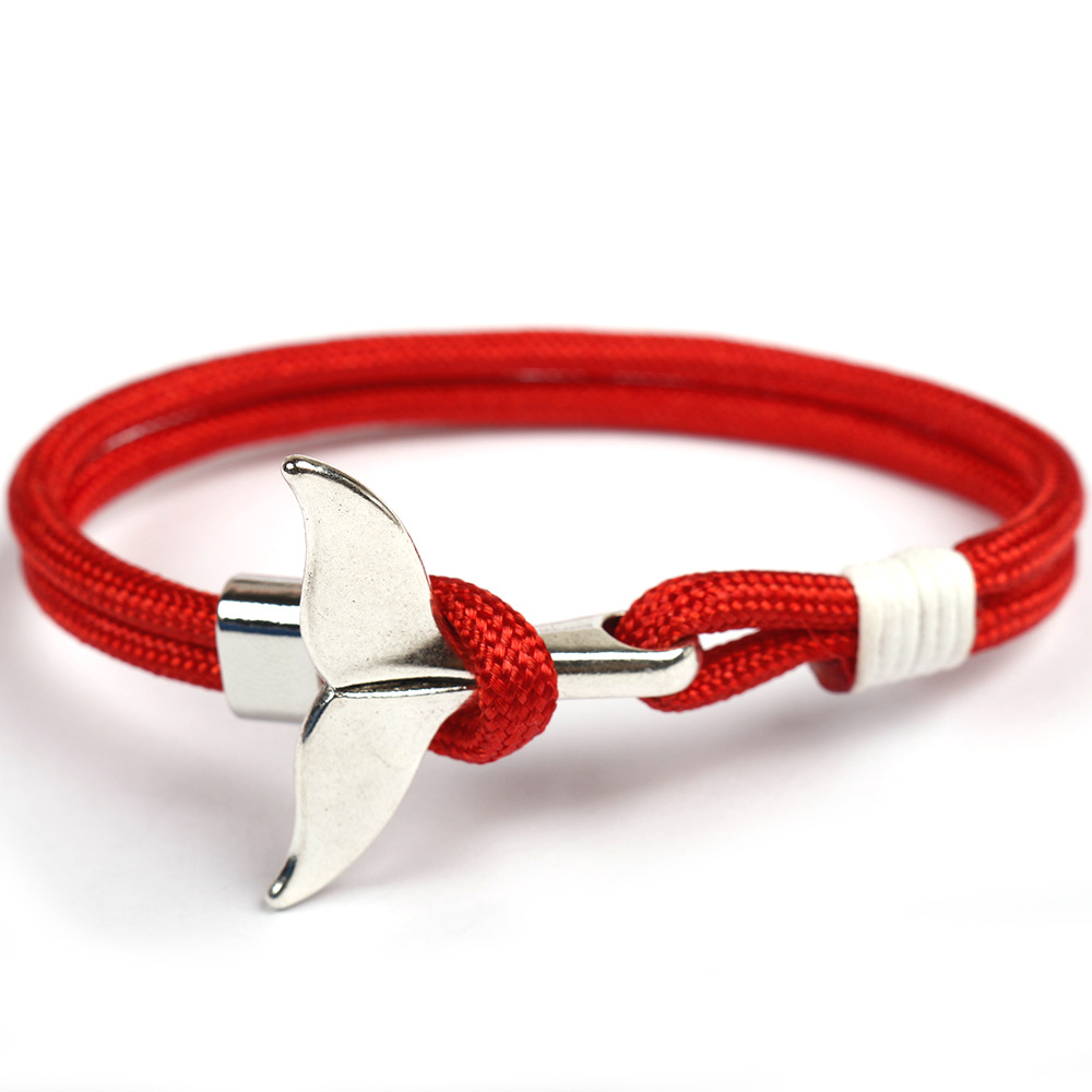 HOMOD Fashion Whale Tail Anchor Bracelets Men Women Charm Nautical Survival Rope Chain Bracelet Male Wrap Metal Hooks in Chain Link Bracelets from Jewelry Accessories