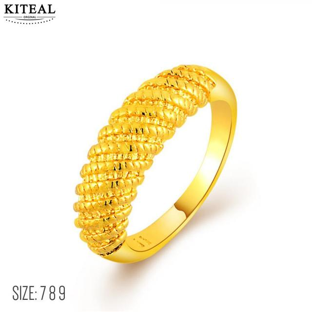 3feaa3b724 KITEAL Xmas Gift 24k gold color size 7 8 9 female rings simple style pure  gold color aneis fine fashion jewelry