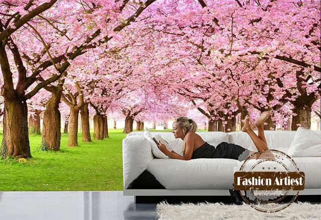 Custom 3d floral wallpaper mural sakura forest pink flower grassland ...