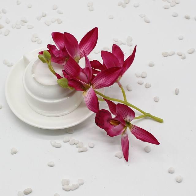 Online Shop 5pcs Lot Silk Artificial Orchid Bouquet For Home Party