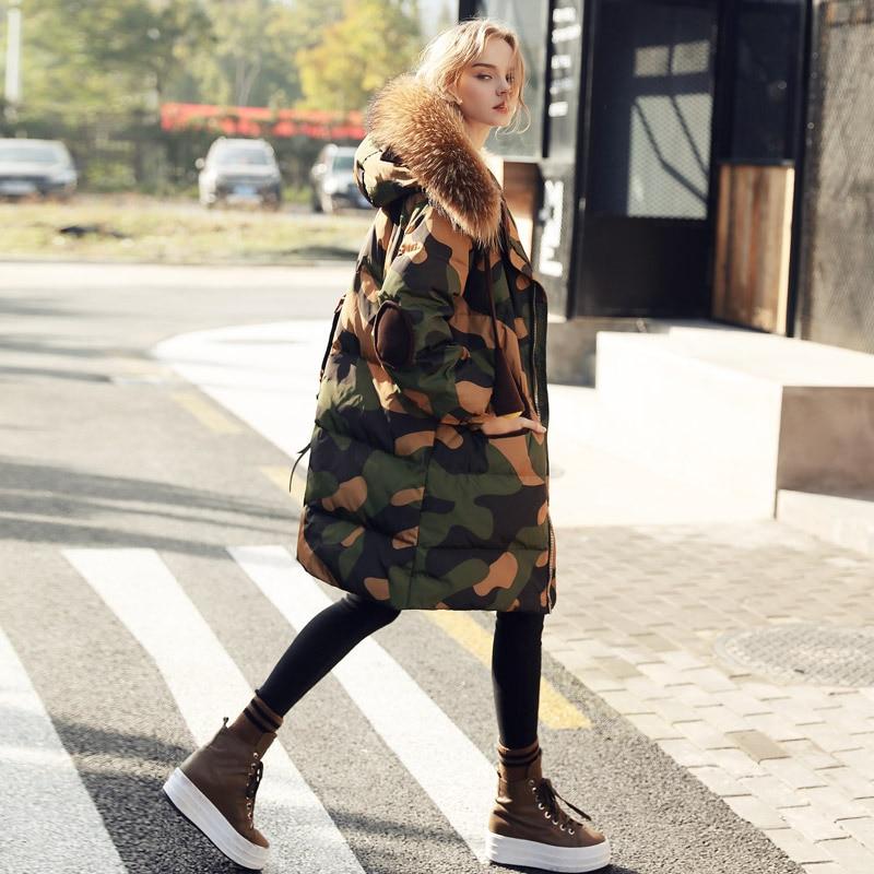 Longue New Qualité Collar Coton Fermeture Éclair Chaud Real La De Collar Wq513 camo Rembourré Parkas Plus Haute Camo Mode Manteau Hiver Veste Fur Faux Ouatée Taille Femmes 2017 Dames w6dPYfq6