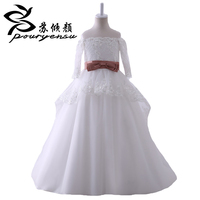 Hot Sale Real Pics Lace Appliques Flower Girl Dresses For Wedding Floor Length 3 4 Sleeves