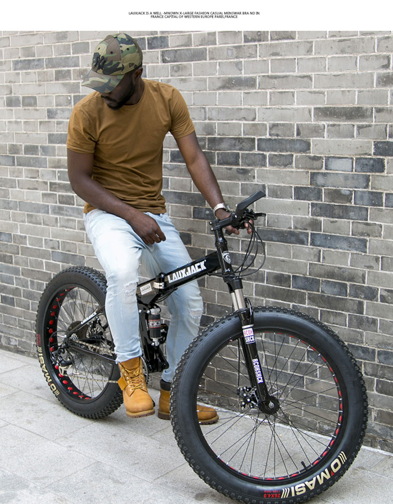 "HTB1rHuDdHPpK1RjSZFFq6y5PpXaL LAUXJACK Fat Bike Full Suspension Steel Foldable Frame 24 Speed Shimano Mechanic Brake 26""x4.0 Wheel"