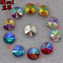 Micui 100pcs 10mm AB Color Round pointback acrylic rhinestones diy acrylic beads for clothing garments phone bags ZZ362