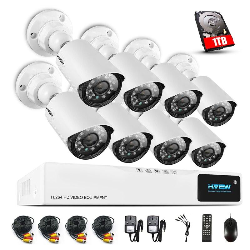 H. VUE 8CH CCTV Surveillance System1080P AHD DVR 8 pcs CCTV Caméras 1.0 MP Renforcée IR Système de Caméra de Sécurité avec 1 tb HDD
