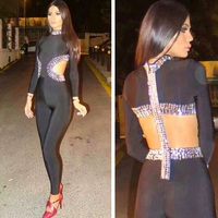 Top Quality Black Manutal Beading Long Sleeve Rayon Bandage Jumpsuits Evening Party Jumpsuits