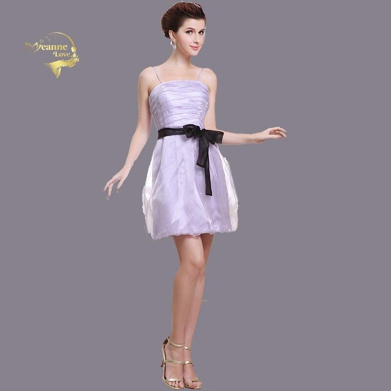 Lavande pourpre courte robes de demoiselle d'honneur pour les femmes Mini ceinture noire fête robes de bal robe de demoiselle d'honneur Spaghetti vestido coctel