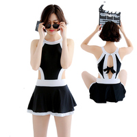 Japanese Women Sexy Crotch Bottom Zipper Swimsuit One Pieces Body Suit With Pad Push UP Underwire