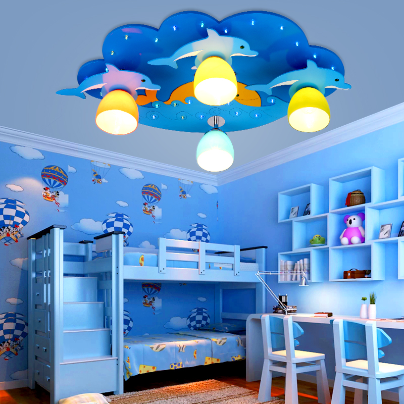 Creative Cartoon Dolphin childrens room bedroom ceiling lamp Modern led boys and girls cartoon children room lighting