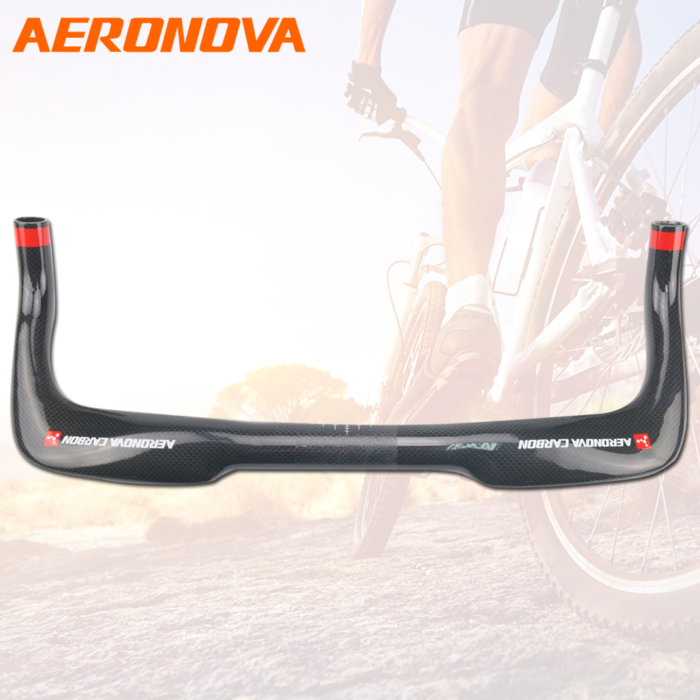 AERONOVA Bicycle Bullhorn Handlebar Carbon TT Bar Road Rest Handlbars Bike Black 380/400/420/440/460 Triathlon Handlebar