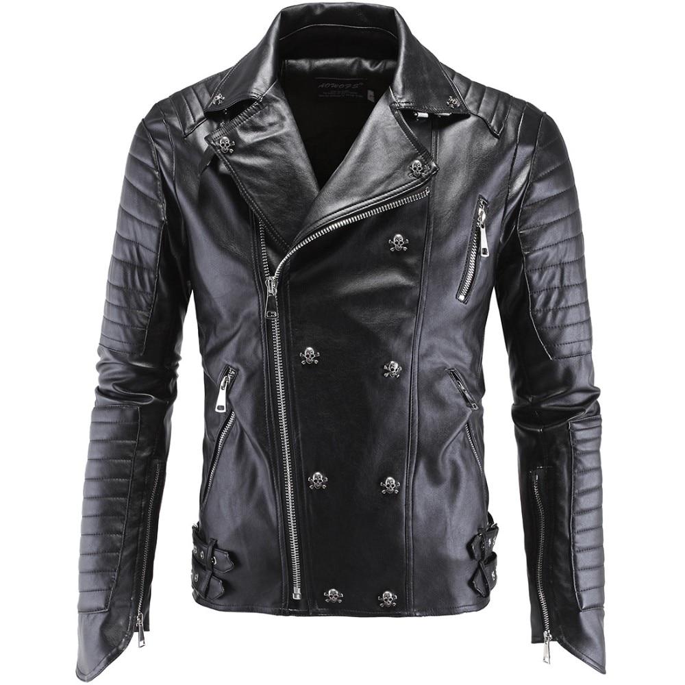 German Designer Skull Rivet Studded Punk Rock Black Biker Leather Motorcycle Jackets Men Plus Size 4XL 5XL