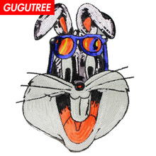 GUGUTREE embroidery Sequins big rabbit patches cartoon animal badges applique for clothing XC-457