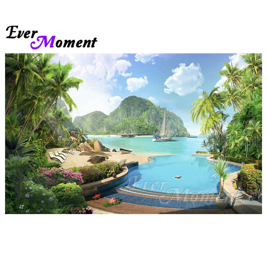 Ever Moment 5D DIY Diamond Painting Scenery Water Holiday Full Square Drill Resin Diamond Embroidery Decor For Decor S2F071Ever Moment 5D DIY Diamond Painting Scenery Water Holiday Full Square Drill Resin Diamond Embroidery Decor For Decor S2F071