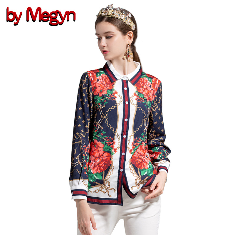 by Megyn 2019 summer women blouse long sleeve shirts floral print блузка женская plus size 3XL casual blouses for female