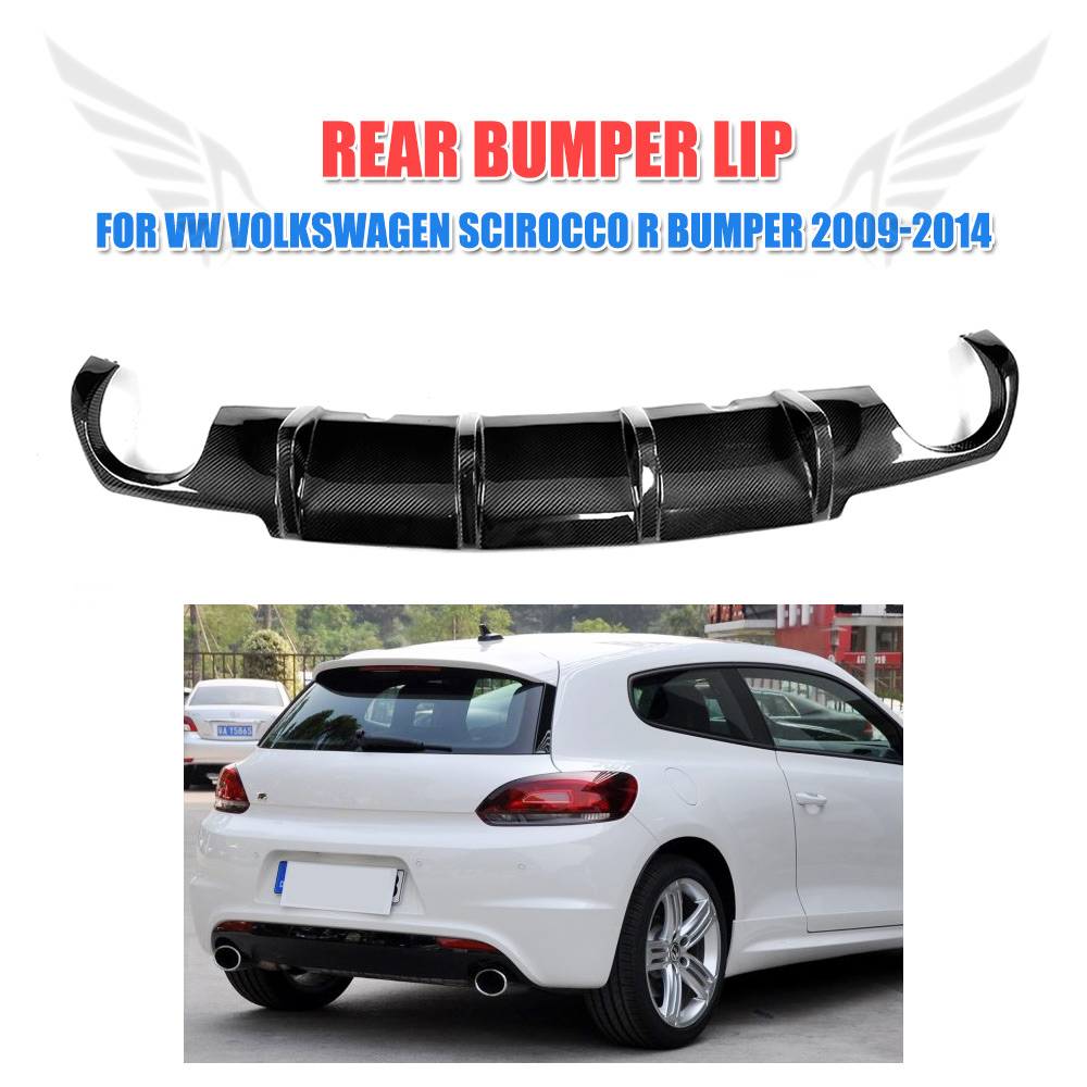 Carbon Fiber Auto Rear Bumper Diffuser Lip Spoiler for VW Volkswagen Scirocco R Bumper 2009-2014 Car Styling FRP Unpainted olotdi car styling carbon fiber back lip rear bumper diffuser spoiler splitter for porsche macan 2014 2016