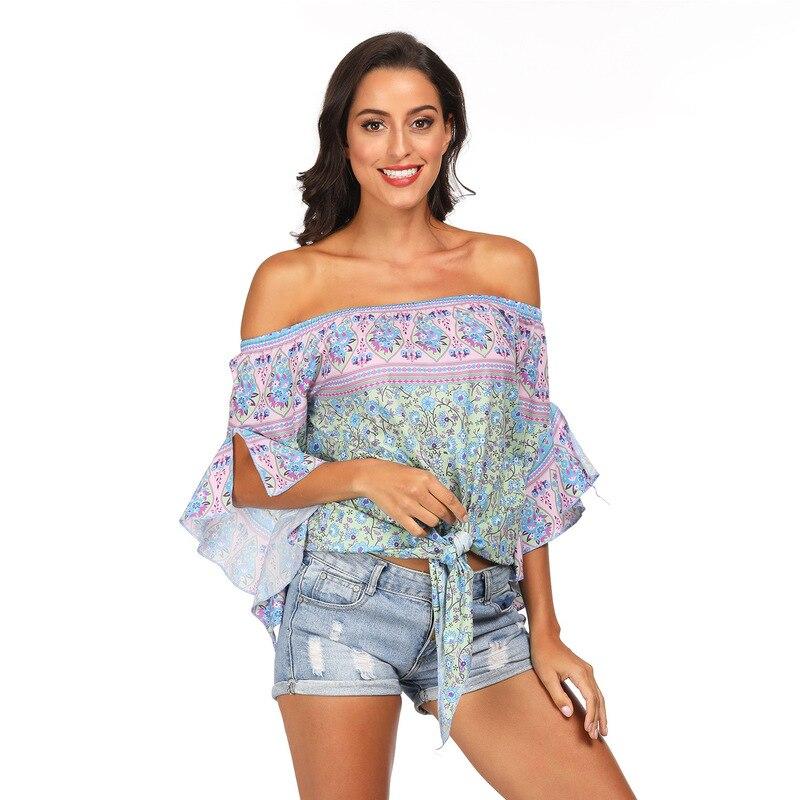 2018 Beach Pareos Woman Women Swimwear Pareo Dress Wear Print Word Led Shirt Leisure Loose Bind Leaf Long Sleeve Acetate Sierra