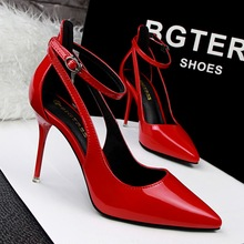 New Fashion Women Elegant Pointed Toe Shallow PU Pumps Shoes 2019 Ladies 9.5CM Thin High Heels Buckle Hollow Party Sandals Shoes цена