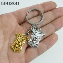 LPHZQH fashion Staffordshire Terrier Pit Bull dog car key chain women bag pendant charm accessories Key ring jewelery steampunk