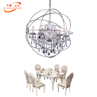 Retro Nordic Sphere Crystal Chandelier Lighting Orb Hanging Lamp LED Globe Chandelier Lighting Chrome Cristal Chandelier Lamp