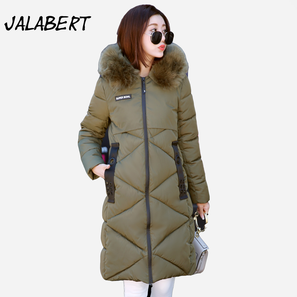 2017 winter New fashion warm long Solid  Slim coat women Hooded Big Fur collar badge pattern Iron ring warm Parkas 2017 new women winter cotton coat long slim hooded badge pattern warm jacket female fashion solid parkas