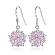 XIYANIKE 925 srebro proste moda cyrkon różowe piwonie kwiat urocze kolczyki Handmade Ear Hoops Fine Jewelry Gift