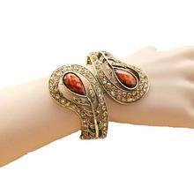 CirGen, высокое качество, модные женские туфли Кристалл Циркон смолы Оливковая ветвь цветок винтажный браслет манжеты браслеты браслет ювелирные