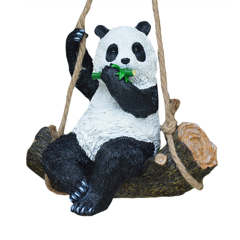 1Pc Cute Resin Simulation Swing Panda Ornament For House Garden Yard Lawn Decoration 29 19 30cm