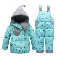 2018 Winter Children's Clothing Set Kids Ski Suit Overalls Baby Girls Down Coat Warm Snowsuits Jackets+ Pants 2pcs/set Brand