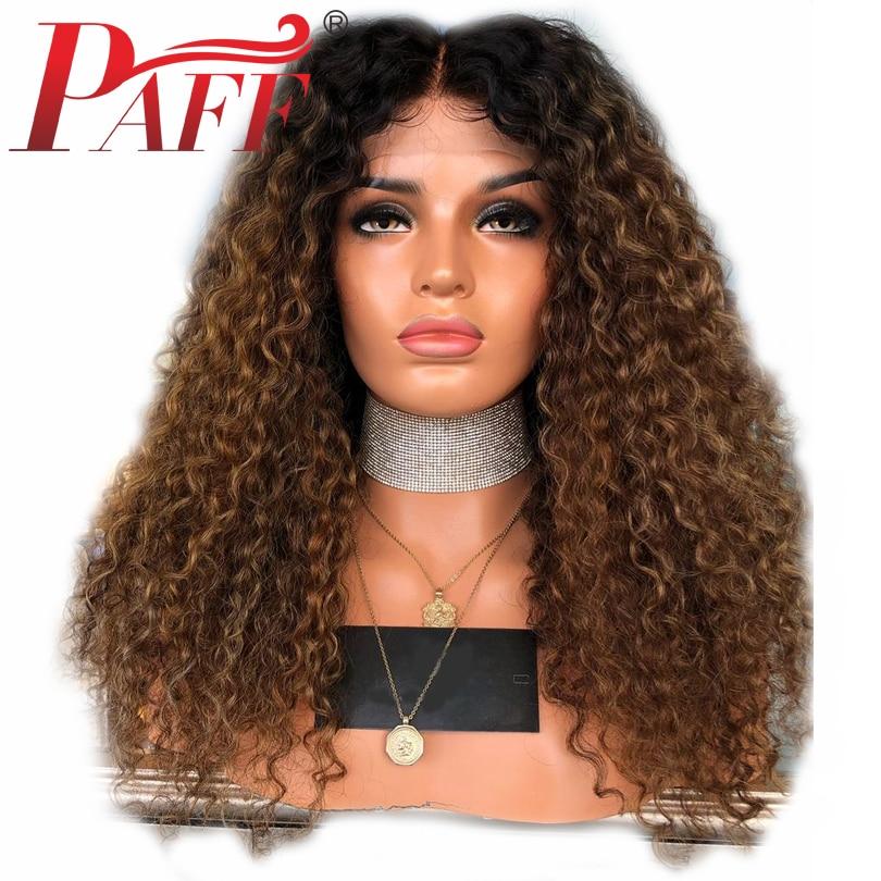 PAFF Crépus Bouclés Ombre Full Lace Perruques de Cheveux Humains 150% Densité Deux Tons Couleur 1b/30 Brésiliens Remy Cheveux perruques Avec Bébé Cheveux