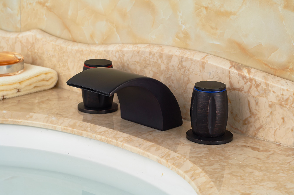Modern Oil Rubbed Bronze Deck Mounted Bathroom Basin Sink Faucet Mixer tap 3PCS oil rubbed bronze finish bathroom sink faucet widespread 3pcs bathroom basin mixer tap deck mounted