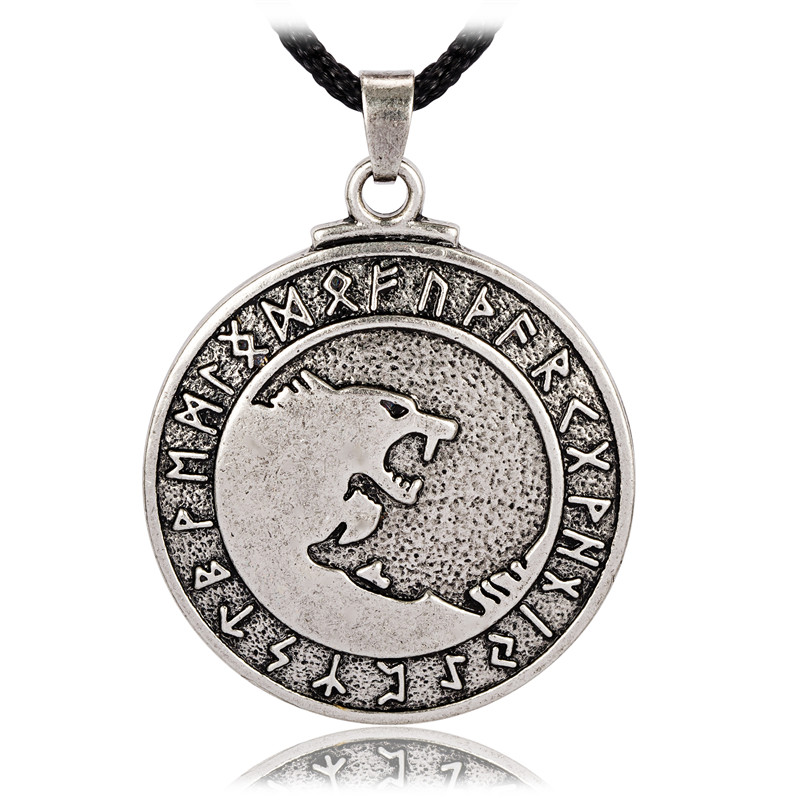 Pewter Odins Wolves Norse Rune Pendant Wolf Jewelry