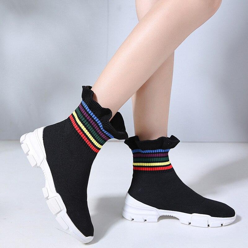 Bottes Chaussettes Mobeini Nouveau Femmes De 2018 Stretch Qualité Plates Occasionnels Produits Chaussures Noir Courtes Mode Pu gris Rayé UzMSpLqVG