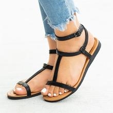 Summer Sandals Women Plus Size Flats Female Casual Peep Toe Gladiator Shoes PU Leather Ankle Strap Buckle Leisure Solid Footwear new fashion summer gladiator ankle strap women shoes flat sandals fretwork flats women leisure footwear size 34 43 pa00798