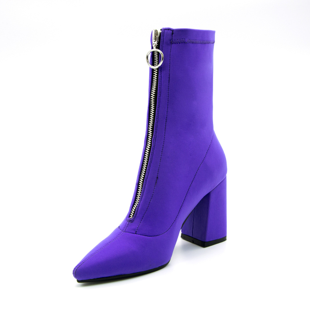 2018 Autumn New Lycra Women Boots Pointed Toe Square Heel Shoes Woman Fashion Bota Feminina Ankle boots Black purple rose red 1
