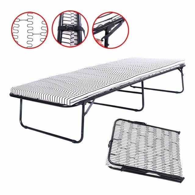 Folding Metal Guest Bed Spring Steel Frame Mattress Cot Sleep Single ...