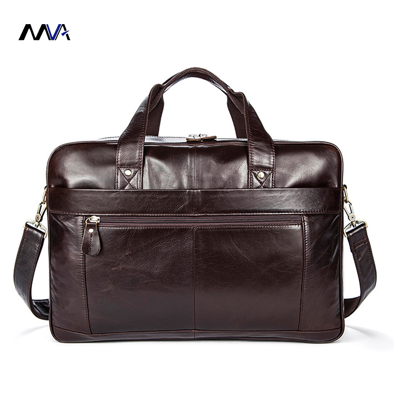 MVA Genuine Leather bag Coffee Men Briefcase 17inch Laptop Business Bag Cowhide Men's Messenger Bags Lawyer Handbags new genuine leather coffee men briefcase 14 inch laptop business bag cowhide men s messenger bags luxury lawyer handbags lb9006