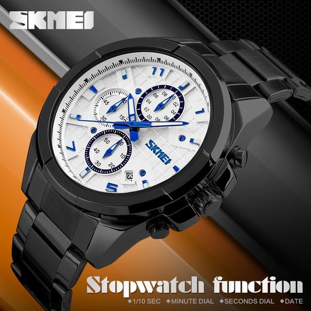 SKMEI Men Fashion Casual Watches Luxury Brand Quartz-Watch Relogio Masculino Mens Stainless Steel Reloj Para Hombre Wristwatch