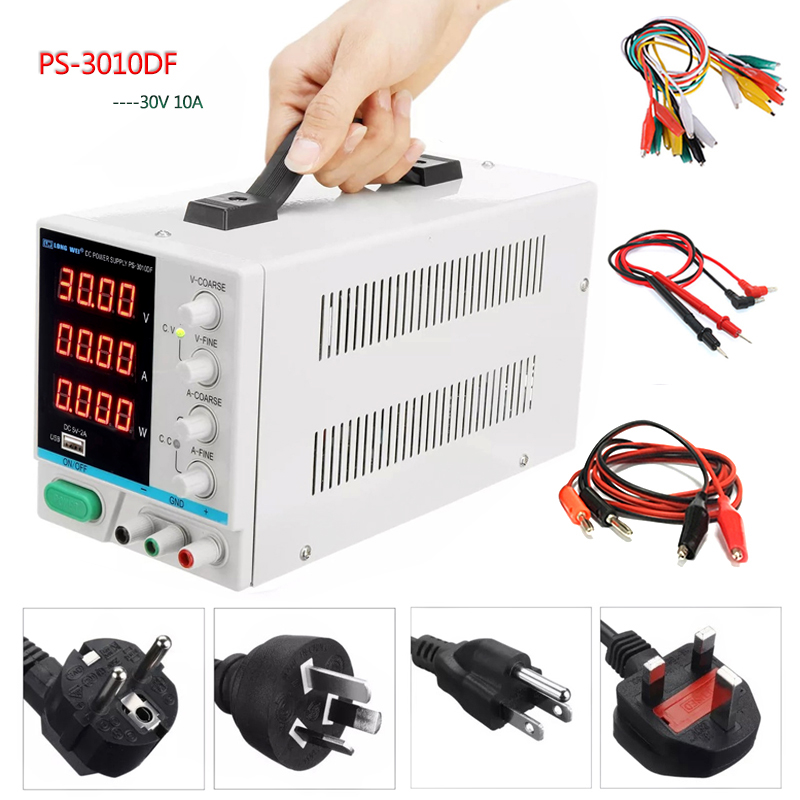 New LW PS 3010DF laboratory DC power supply 30V10A high precision4 digit LED display USB charging