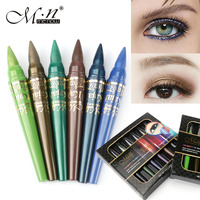 Menow 6 Colors Set Shimmer Waterproof Eye Shadow Eyeliner Pencil Colorful Sparkling Eye Makeup Cosmetics For