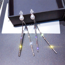 Korean Handmade Silver Needle Anti-allergy Tassel Pearl Rhinestone Drop Dangle Earrings Fashion Jewelry-BYD5