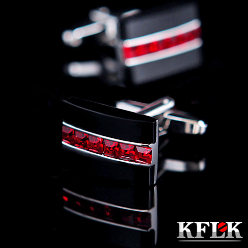 KFLK Luxury HOT HOT Shirt Cufflink For Mens Gift Brand Cuff Button Red Crystal Cuff Link High Quality Abotoaduras Jewelry