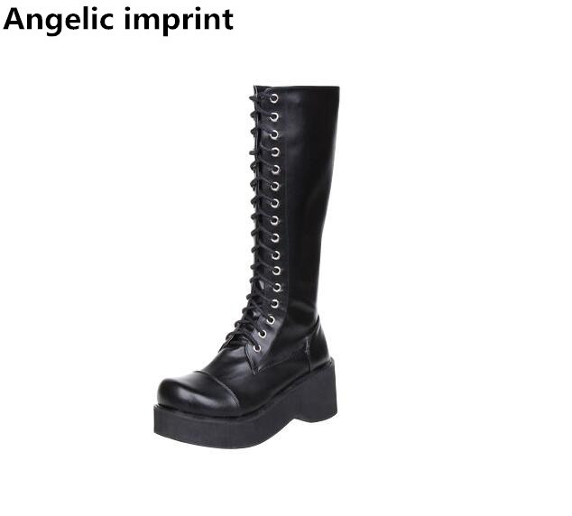 Angelic imprint New mori girl Women motorcycle boots lady lolita Boots woman high trifle heels pumps
