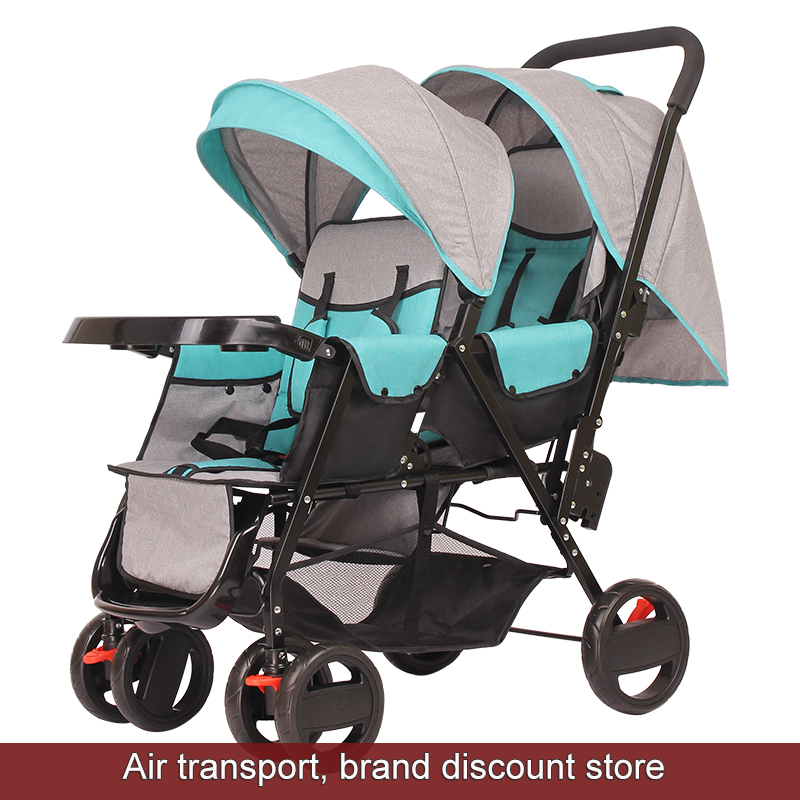 Hot mom to Russia 2017 New baby stroller for twins Lightly folded carriage Seat can be lying double carts kids