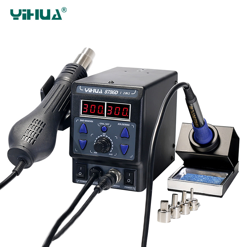 YIHUA 8786D I Rework Soldering Station 700W Digital Display SMD Hot Air Gun Soldering Iron 2