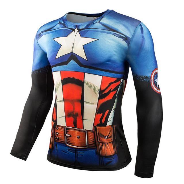 Nova Moda Camisa De Compressão Homens Fitness Superman Spiderman Batman Capitão América Homem De Ferro Crossfit tshirt 3D Impressão Tops Tees