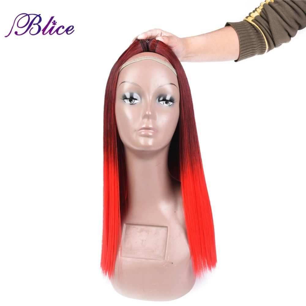 Blice Synthetisch Haar Weven 18 inches Mix # 1B/Red Yaki Rechte Dubbele Lange Inslag Naaien in Hair Extensions 100 g/stuk 3 stuks/partij