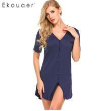 Ekouaer Women Sexy Nightgown Sleepshirts Short Sleeve Button Shirt Nightdress Sleepwear Night Dress Female Home Clothing