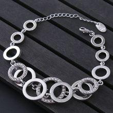 3pcs Geometric metal Circles Bracelet For Women Rhinestones Paved Double Layer Round Female Wedding Jewelry 3Colors B-447